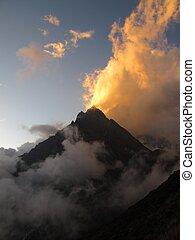 Mountain peak at sunset