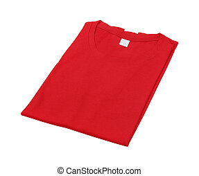 folded t-shirt isolated on white background (with clipping...