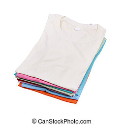 stack of colorful t-shirt - stack of colorful folded t-shirt...