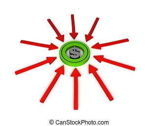 three dimensional dollar sign on arrows - isolated three...