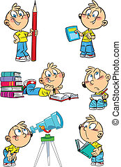 Cartoon boy with school subjects - The illustration shows a...