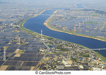 arial view over the river in Japan