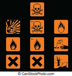 Set of chemicals hazard symbols
