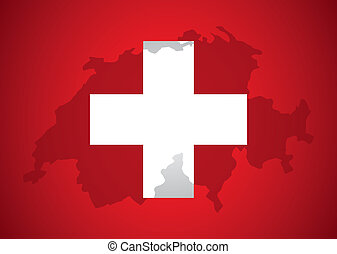 Swiss design over red background, vector illustration