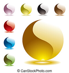 gel round half glow - Collection of gel filled marbles with...