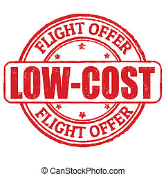 Low cost, flight offer stamp - Low cost, flight offer grunge...