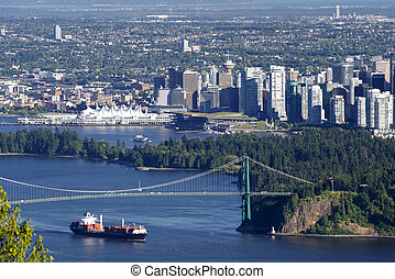 Vancouver, B.C. - panoramic view with Canada Place, Burrard...