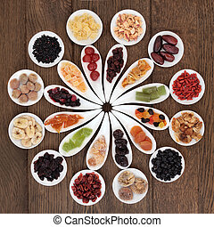 Dried Fruits Sampler - Dried fruit selection in white bowls...