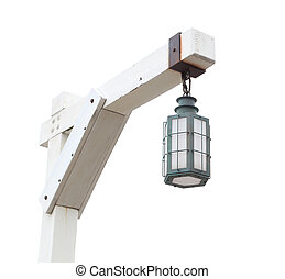 street lamp isolated on white - vintage street lamp isolated...