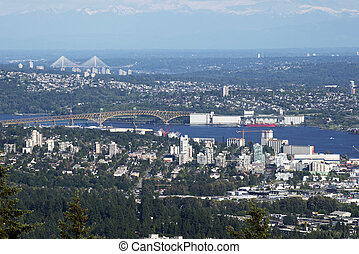 Metro Vancouver area with Burrard Inlet and Second Narrow...