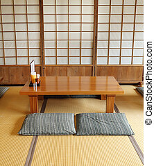 empty wood table japanese style