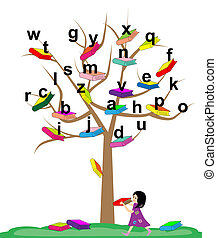 Tree of Knowledge - Vector illustration of a tree with the...