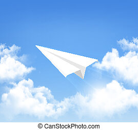 Paper airplane in the sky with clouds. Vector