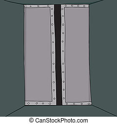 Partially Open Door - Cartoon of partially open door in...