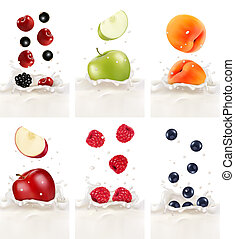 Colorful fresh fruits falling into the milky splash. Vector illustration