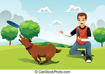 Man playing frisbee with his dog - A vector illustration of...