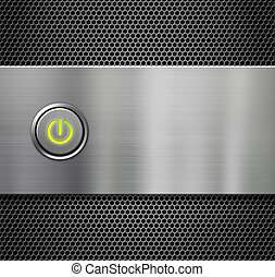 power or start button on metal plate