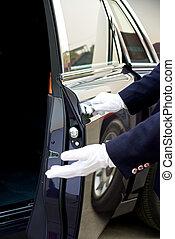 chófer, abre, coche, puerta