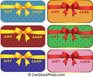 Colorful gift cards with ribbons Vector background