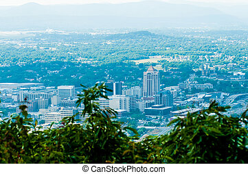 roanoke virginia city skyline on a sunny day - roanoke...