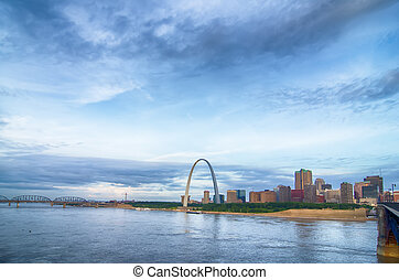 early morning Cityscape of St Louis skyline in Missouri...