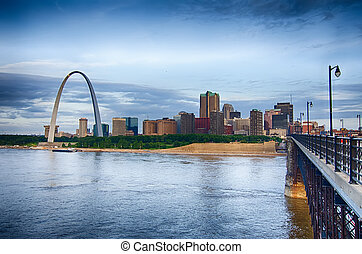 early morning Cityscape of St. Louis skyline in Missouri...