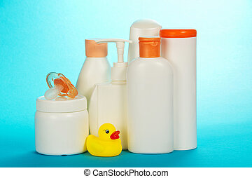 Baby cosmetics - Baby care skincare on a blue background