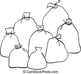 Outline group of sacks