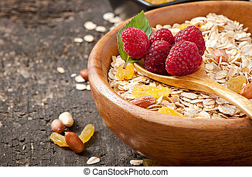 oatmeal and berries - Healthy breakfast - oatmeal and...
