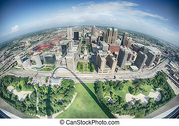 aerial of The Old Court House surrounded by downtown St...