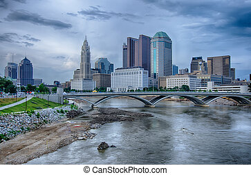 Columbus, Ohio skyline reflected in the Scioto River....