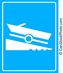 white sign with a boat trailer on a blue background in frame