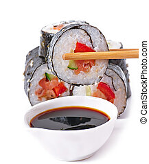 sushi rolls - Traditional fresh japanese sushi rolls