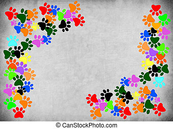 Colored pawprints on gray grunge background