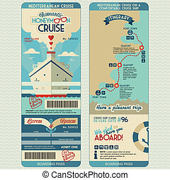 Honeymoon cruise boarding pass for just married. Flat...