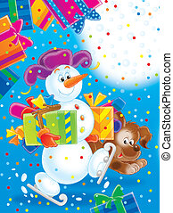Snowman and puppy - Snowman with Christmas presents walking...