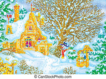 Snowfall - Village house in snowfall