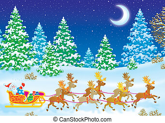 Santa Claus in his sledge - Santa Claus sledging with...