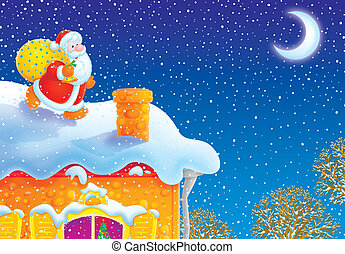 Santa Claus on a house-top - The night before Christmas,...
