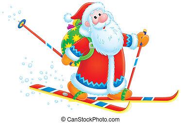 Santa Claus skier - Santa Claus skiing with his bag of...