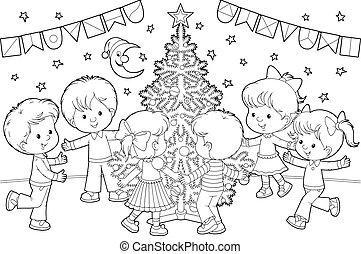 Children around Christmas tree - Girls and boys dancing...
