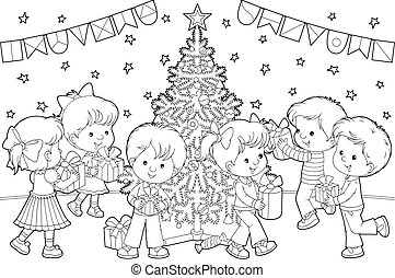 Children with Christmas gifts - Boys and girls with gifts...