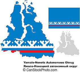 outline map of Yamalo-Nenets Autonomous Okrug with flag -...