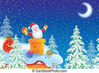 Santa Claus in a chimney - Santa Claus was stuck in a...