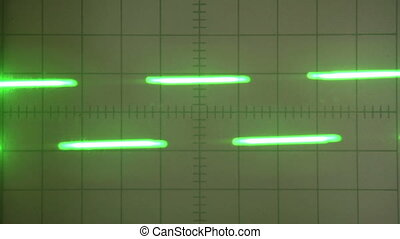 Dotted Signal - Dotted neon green signal on the screen of...
