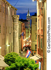 Colorful historic street of Zadar Night view