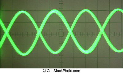 Pulse Signal - Parabolic Curve Green screen old oscilloscope