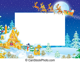 Christmas border with Santa Claus flying in his sledge with...