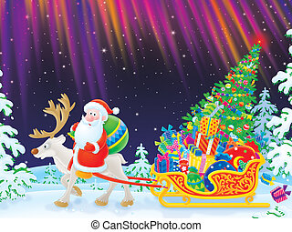 Santa delivering Christmas gifts - Santa Claus riding on his...