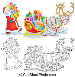 Santa and Christmas gifts - Santa Claus loading Christmas...